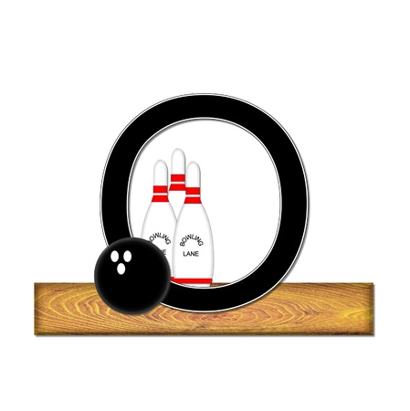 typographiy: The letter O, in the alphabet set Bowling, is black with white border.  Bowling ball and pins sit on wooden lane with letter.