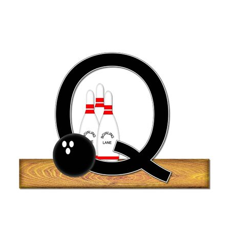 typographiy: The letter Q, in the alphabet set Bowling, is black with white border.  Bowling ball and pins sit on wooden lane with letter. Stock Photo