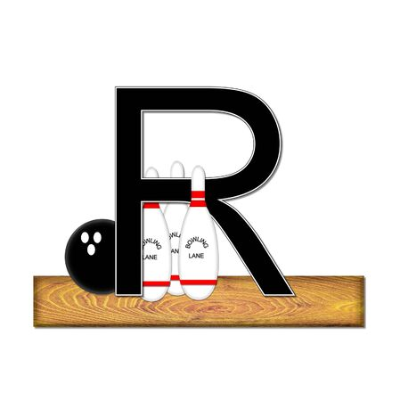 typographiy: The letter R, in the alphabet set Bowling, is black with white border.  Bowling ball and pins sit on wooden lane with letter.