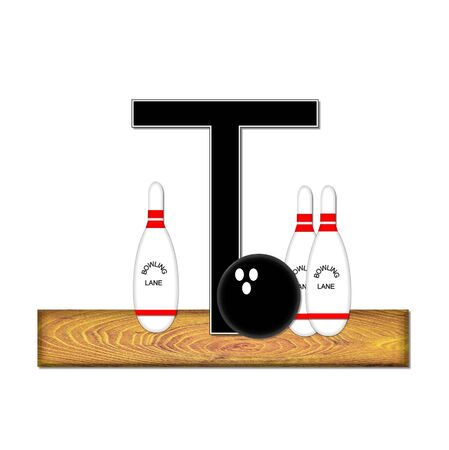 The letter t, in the alphabet set Bowling, is black with white border.  Bowling ball and pins sit on wooden lane with letter. photo