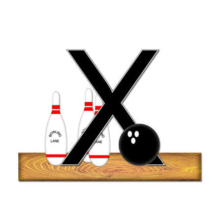 typographiy: The letter X, in the alphabet set Bowling, is black with white border.  Bowling ball and pins sit on wooden lane with letter. Stock Photo