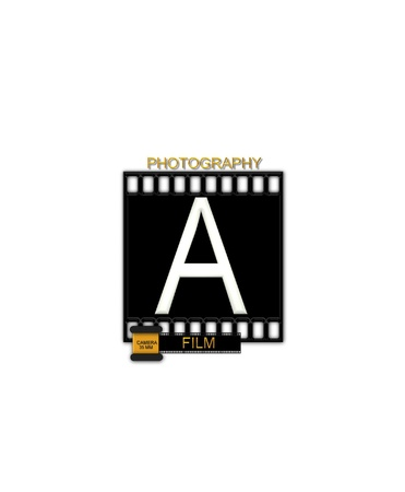 typographiy: The letter A, in the alphabet set Camera Film is white and is sitting on a black strip of film.  A small film canister sits at base of letter. Stock Photo