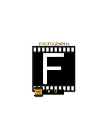 typographiy: The letter F, in the alphabet set Camera Film is white and is sitting on a black strip of film.  A small film canister sits at base of letter. Stock Photo