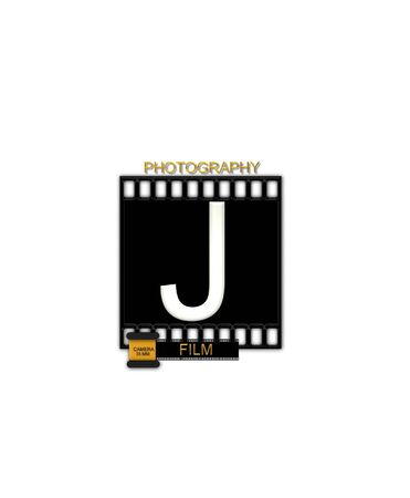 typographiy: The letter J, in the alphabet set Camera Film is white and is sitting on a black strip of film.  A small film canister sits at base of letter.