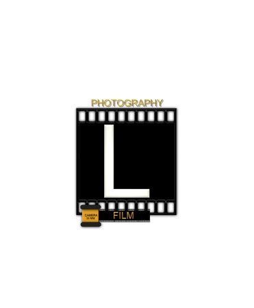 typographiy: The letter L, in the alphabet set Camera Film is white and is sitting on a black strip of film.  A small film canister sits at base of letter.