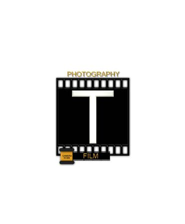 typographiy: The letter T, in the alphabet set Camera Film is white and is sitting on a black strip of film.  A small film canister sits at base of letter.