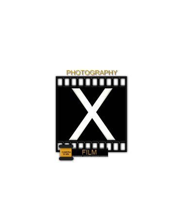 typographiy: The letter X, in the alphabet set Camera Film is white and is sitting on a black strip of film.  A small film canister sits at base of letter.