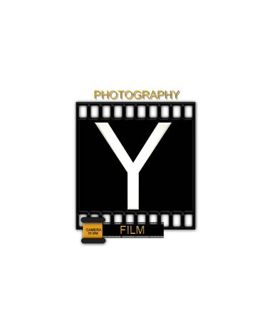 typographiy: The letter Y, in the alphabet set Camera Film is white and is sitting on a black strip of film.  A small film canister sits at base of letter. Stock Photo