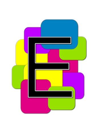 rimmed: The letter E, in the alphabet set Geometric is black and rimmed in white.  Letter sits on a cluster of colorful squares and rectangles.