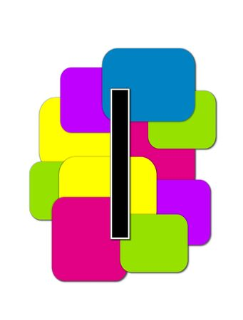 rimmed: The letter I, in the alphabet set Geometric is black and rimmed in white.  Letter sits on a cluster of colorful squares and rectangles.