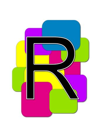 rimmed: The letter R, in the alphabet set Geometric is black and rimmed in white.  Letter sits on a cluster of colorful squares and rectangles. Stock Photo