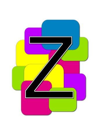 rimmed: The letter Z, in the alphabet set Geometric is black and rimmed in white.  Letter sits on a cluster of colorful squares and rectangles. Stock Photo