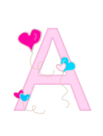 dangle: The letter A, in the alphabet set Heart of Valentine, is soft pink.  Heart balloons, outlined with pearl beads, float across letter.  Long, curly strings dangle from balloons.