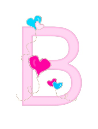 The letter B, in the alphabet set Heart of Valentine, is soft pink.  Heart balloons, outlined with pearl beads, float across letter.  Long, curly strings dangle from balloons. Stock Photo