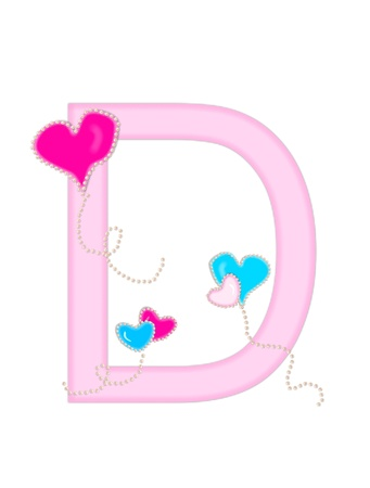 The letter D, in the alphabet set Heart of Valentine, is soft pink.  Heart balloons, outlined with pearl beads, float across letter.  Long, curly strings dangle from balloons.