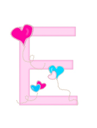 english letters: The letter E, in the alphabet set Heart of Valentine, is soft pink.  Heart balloons, outlined with pearl beads, float across letter.  Long, curly strings dangle from balloons. Stock Photo