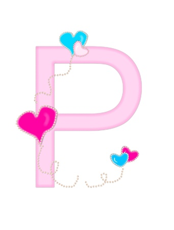 The letter P, in the alphabet set  Heart of Valentine Stock Photo