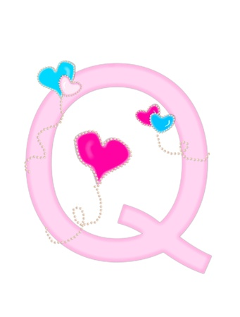 english letters: The letter Q, in the alphabet set  Heart of Valentine