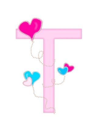 The letter T, in the alphabet set  Heart of Valentine