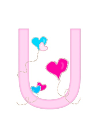 The letter U, in the alphabet set  Heart of Valentine
