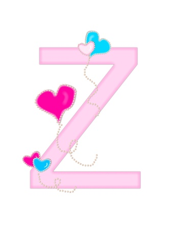 The letter Z, in the alphabet set  Heart of Valentine  Stock Photo