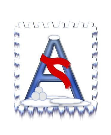 typographiy: The letter A, in the alphabet set  Snow Drift , is icy blue and is wearing a red scarf   Snow has collected on top and bottom of letter and three snowballs decorate base