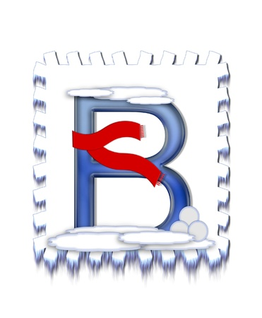 snow drift: The letter B, in the alphabet set  Snow Drift , is icy blue and is wearing a red scarf   Snow has collected on top and bottom of letter and three snowballs decorate base