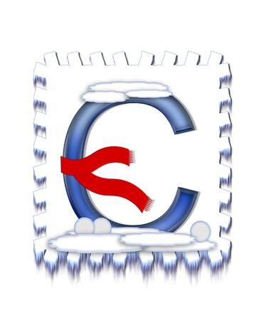 알파벳 문자 C가, 눈 드리프트를 설정, 파란색 얼음과 붉은 스카프의 눈이 정상과 문자와 세 눈덩이 하단베이스를 장식에서 수집 한 착용