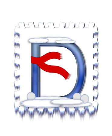 The letter D, in the alphabet set  Snow Drift , is icy blue and is wearing a red scarf   Snow has collected on top and bottom of letter and three snowballs decorate base