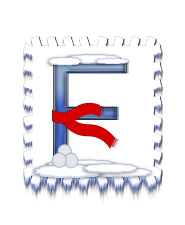 typographiy: The letter F, in the alphabet set  Snow Drift , is icy blue and is wearing a red scarf   Snow has collected on top and bottom of letter and three snowballs decorate base