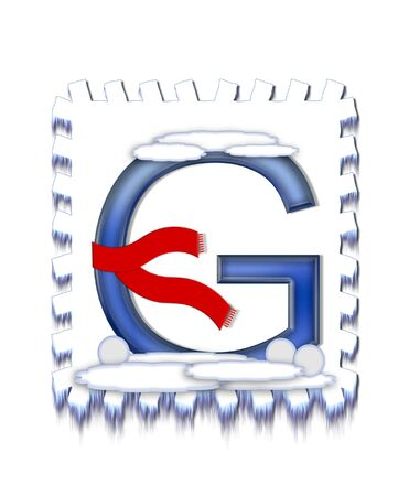 snow drift: The letter G, in the alphabet set  Snow Drift , is icy blue and is wearing a red scarf   Snow has collected on top and bottom of letter and three snowballs decorate base  Stock Photo