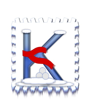 snow drift: The letter K, in the alphabet set  Snow Drift , is icy blue and is wearing a red scarf   Snow has collected on top and bottom of letter and three snowballs decorate base