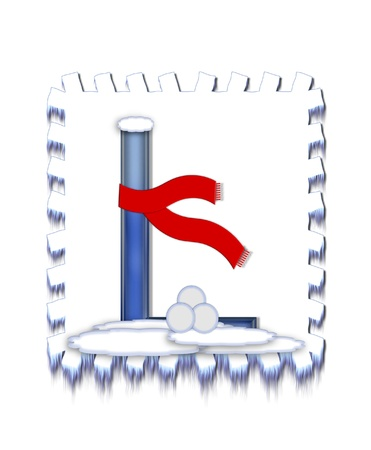 The letter L, in the alphabet set  Snow Drift , is icy blue and is wearing a red scarf   Snow has collected on top and bottom of letter and three snowballs decorate base  Stok Fotoğraf