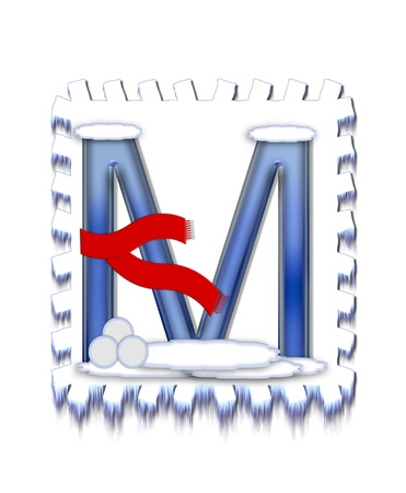 The letter M, in the alphabet set  Snow Drift , is icy blue and is wearing a red scarf   Snow has collected on top and bottom of letter and three snowballs decorate base