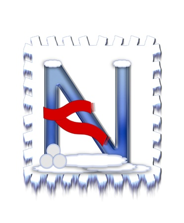 typographiy: The letter N, in the alphabet set  Snow Drift , is icy blue and is wearing a red scarf   Snow has collected on top and bottom of letter and three snowballs decorate base