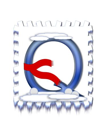 typographiy: The letter Q, in the alphabet set  Snow Drift , is icy blue and is wearing a red scarf   Snow has collected on top and bottom of letter and three snowballs decorate base
