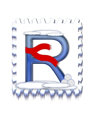 The letter R, in the alphabet set  Snow Drift , is icy blue and is wearing a red scarf   Snow has collected on top and bottom of letter and three snowballs decorate base  Archivio Fotografico