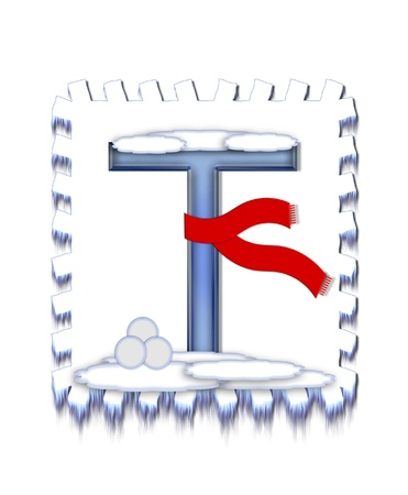 snow drift: The letter T, in the alphabet set  Snow Drift , is icy blue and is wearing a red scarf   Snow has collected on top and bottom of letter and three snowballs decorate base