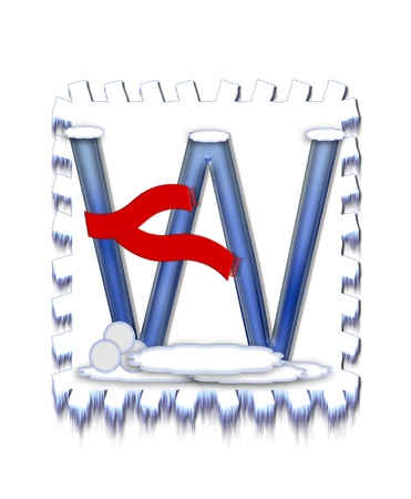 typographiy: The letter W, in the alphabet set  Snow Drift , is icy blue and is wearing a red scarf   Snow has collected on top and bottom of letter and three snowballs decorate base  Stock Photo