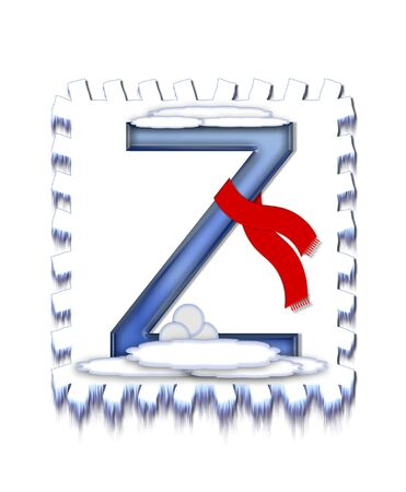 snow drift: The letter Z, in the alphabet set  Snow Drift , is icy blue and is wearing a red scarf   Snow has collected on top and bottom of letter and three snowballs decorate base