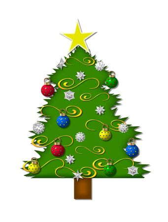 Christmas tree is decorated with snowflakes and gold tinsel.  3D ornaments hang from the branches. Banco de Imagens
