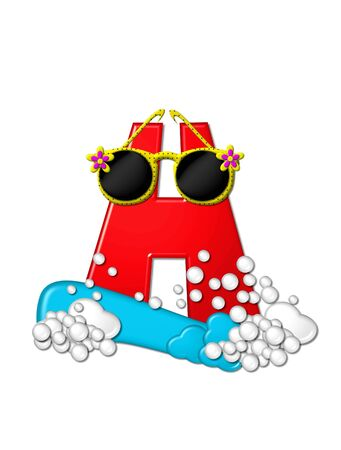 The letter H, in the alphabet set Beachy, is 3D red.  Water and bubbles cover base of letter and wild sunglasses are perched on top. photo
