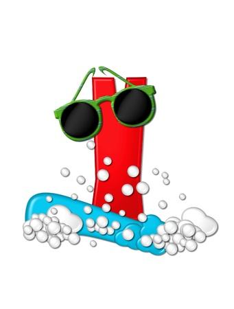 The letter Y, in the alphabet set Beachy, is 3D red.  Water and bubbles cover base of letter and wild sunglasses are perched on top. photo