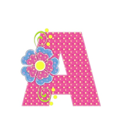 The letter A, in the alphabet set 'Bonita', is pink with yellow polka dots.  Coordinating, two color, flowers decorate each letter. photo