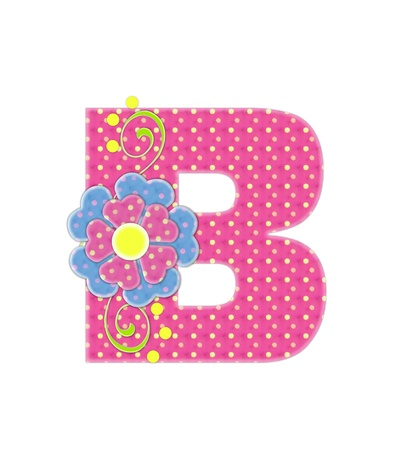 english letters: The letter B, in the alphabet set Bonita, is pink with yellow polka dots.  Coordinating, two color, flowers decorate each letter.