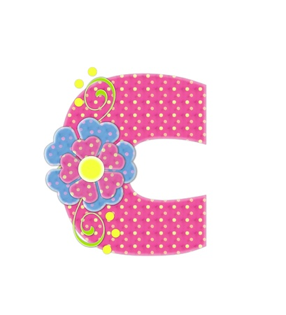 The letter C, in the alphabet set Bonita, is pink with yellow polka dots.  Coordinating, two color, flowers decorate each letter. Stok Fotoğraf