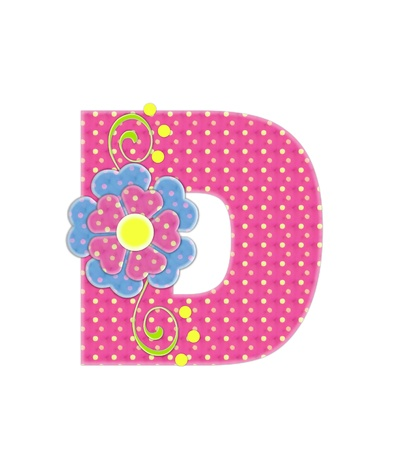 The letter D, in the alphabet set Bonita, is pink with yellow polka dots.  Coordinating, two color, flowers decorate each letter. Stock Photo