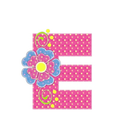 The letter E, in the alphabet set Bonita, is pink with yellow polka dots.  Coordinating, two color, flowers decorate each letter. photo