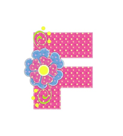 The letter F, in the alphabet set Bonita, is pink with yellow polka dots.  Coordinating, two color, flowers decorate each letter.
