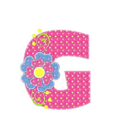english letters: The letter G, in the alphabet set Bonita, is pink with yellow polka dots.  Coordinating, two color, flowers decorate each letter.